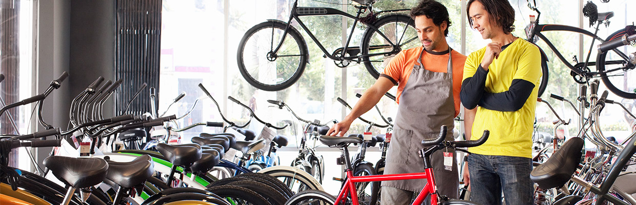 A man shopping for a bike; image used for HSBC Malaysia credit card features page