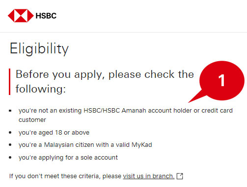 Eligibility checking page of online application form