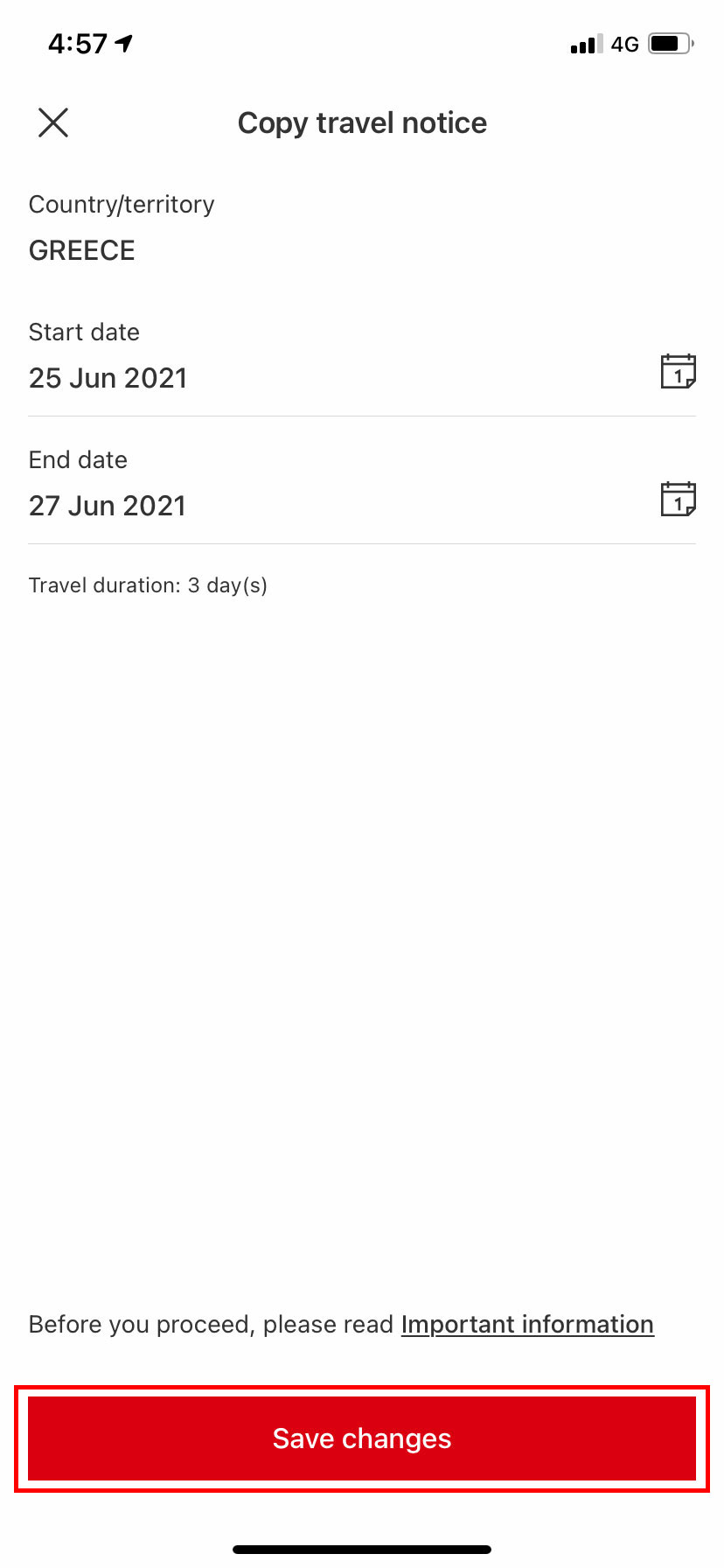 copy feature travel notices page