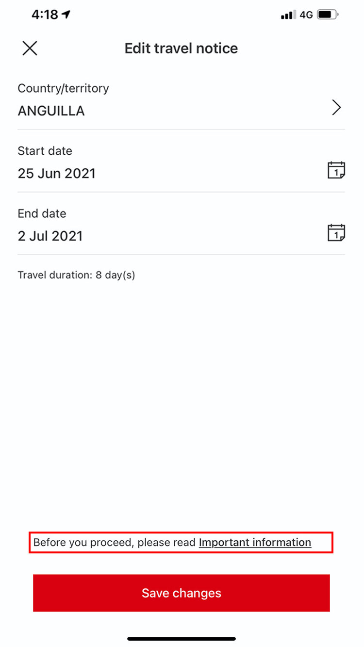 edit feature travel notices page