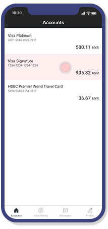 select credit card account interface