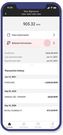 select balance conversion feature