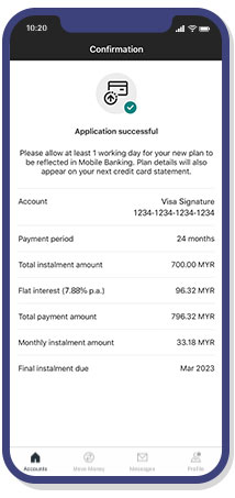 balance conversion plan application has completed