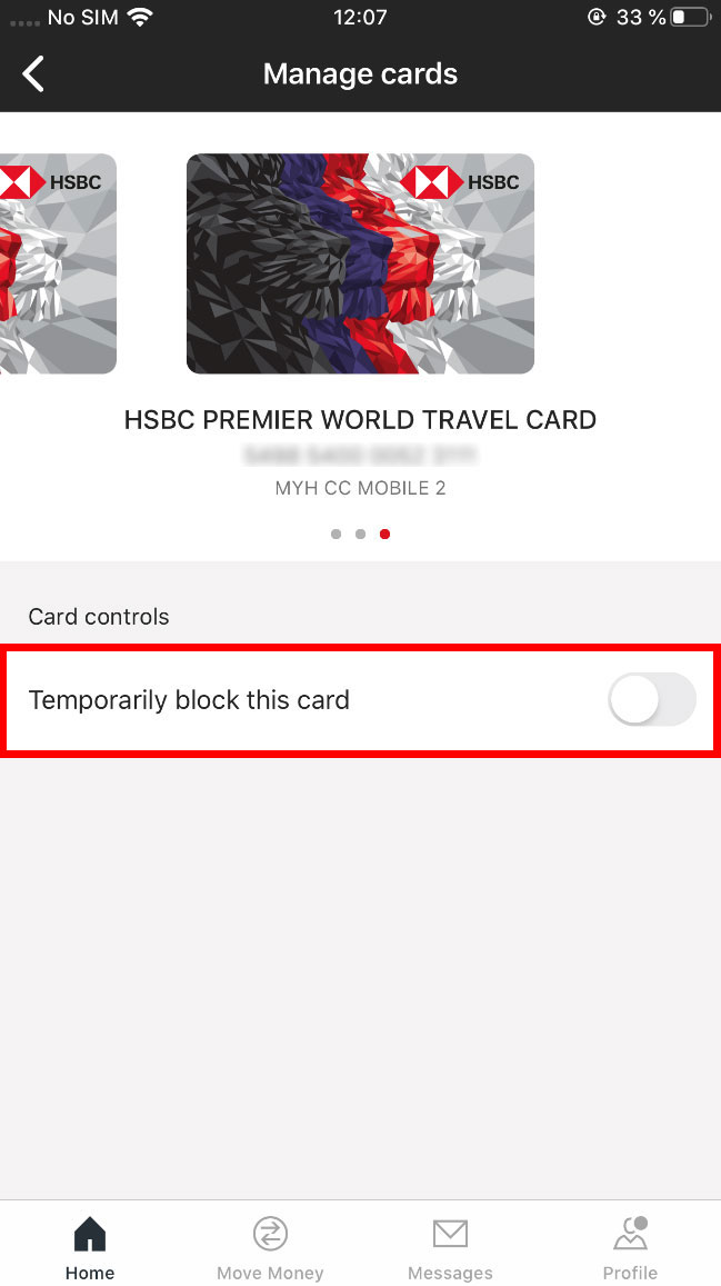 card control, the temporary lock card switch
