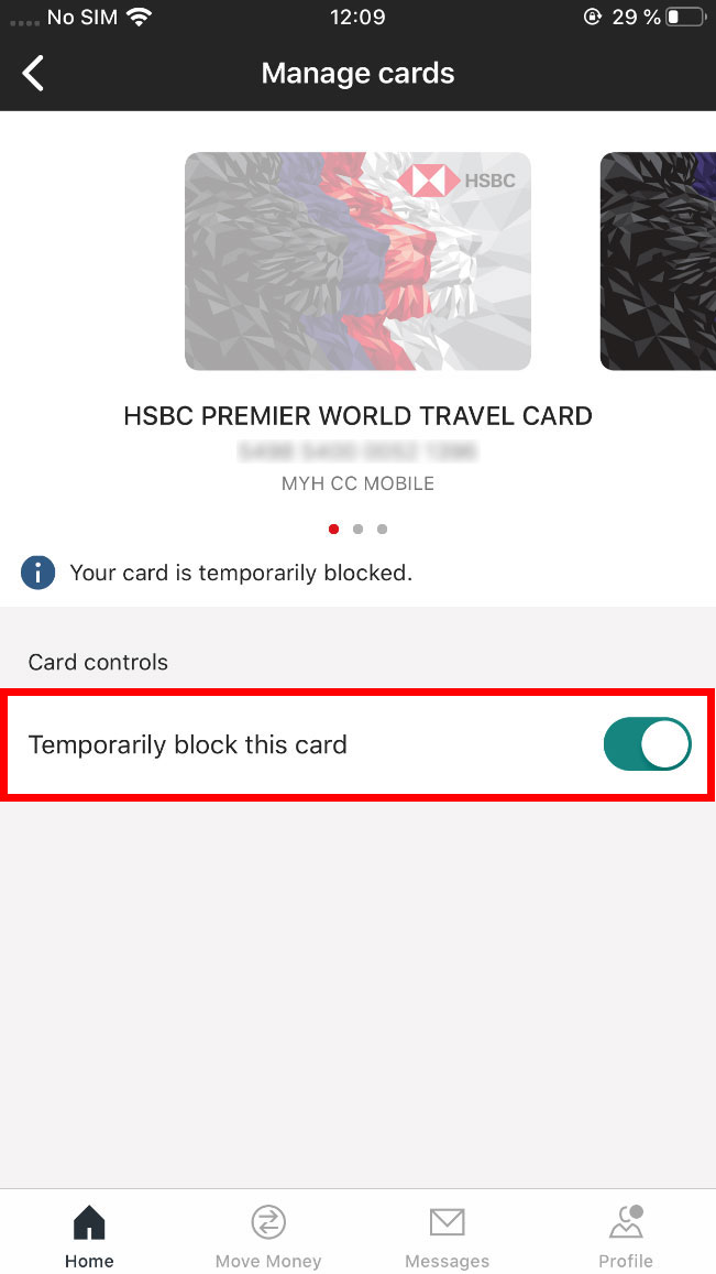 card control, the temporary lock card switch is turned on