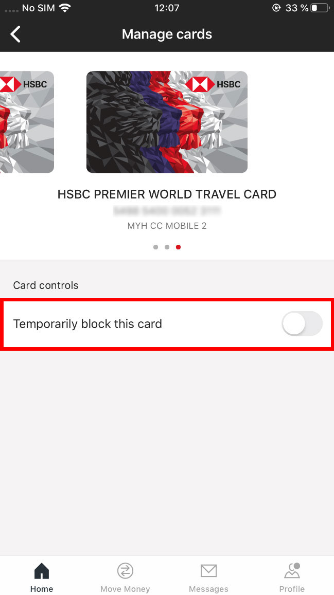 card control, the temporary lock card switch is turned off