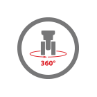 8 wheels with 360° rotation icon