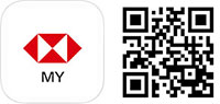 HSBC MY app icon and QR code for app download