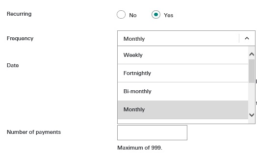 Interface of bill payment recurring transfers; imaged used for HSBC Malaysia Interbank-qiro FAQ page.